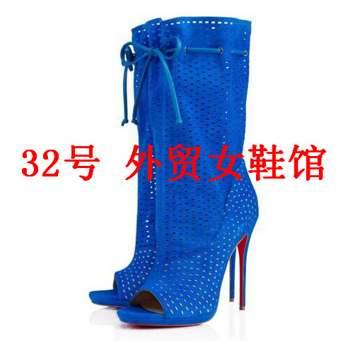 Фотография New Fashion Peep Toe Woman Ankle Boots Sexy Cut-outs High Heels Ankle Lace Up Summer Boots
