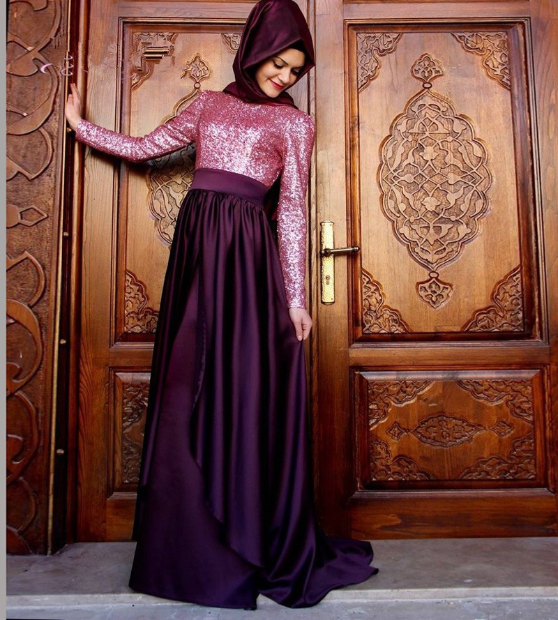 Hijab long sleeve evening dress arabic gowns 2016 new for Cheap wedding dress malaysia