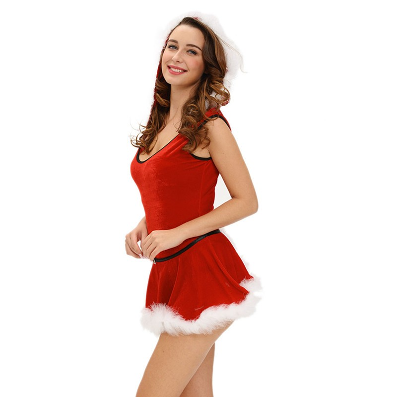 Hot Sale 2016 Christmas Costumes Dress Ladies Soft Fur Trim Red Santa Teddy And Skirt Costume Disfraces Adultos Mujer Sexy