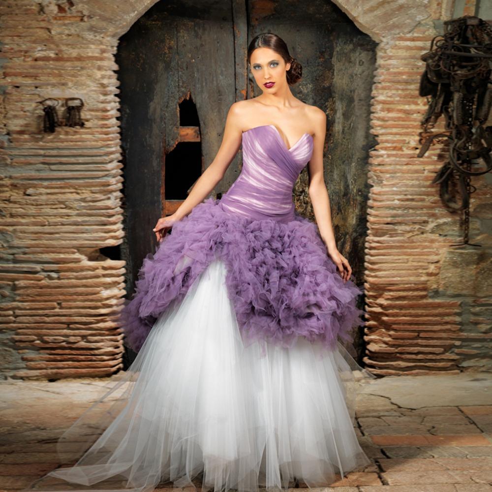 Buy strapless sweetheart ruffled ball for Purple white wedding dresses