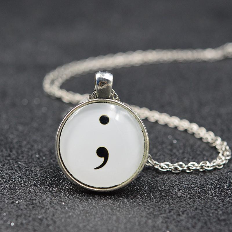 Silver Bronze Color Round Flat Back Cabochon Semicolon Glass Pendant Necklace Men Women Fashion Necklace Jewelry(China (Mainland))