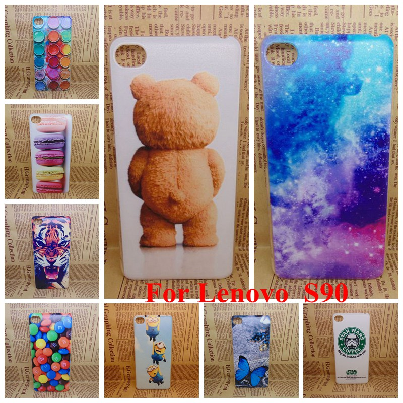 For Lenovo Sisley 90 Case Cover Cute Bear Cartoon Galaxy Colored Tiger Drawing Hard Plastic Shell For Lenovo S90 Cell Phone Bag(China (Mainland))