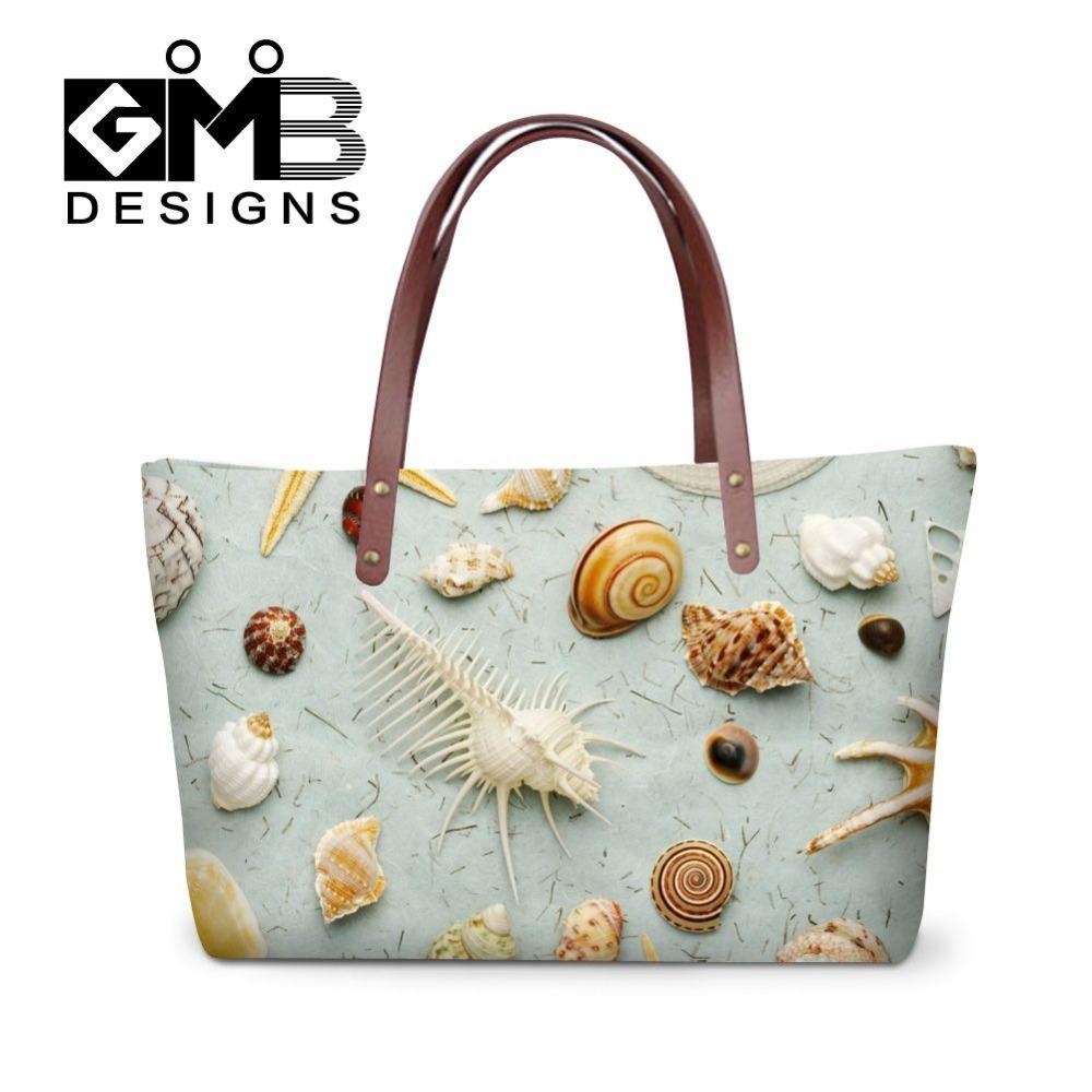 Fashion conch shells 3D printed handbag large capacity one side bag shoulder tote bags for women shopping casual messenger bag(China (Mainland))