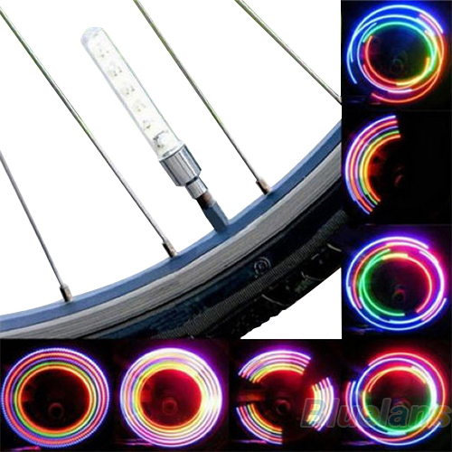 2 x Bike Bicycle Wheel Tire Valve Cap Spoke Neon 5 LED Light Lamp Accessories Wholesale 0536(China (Mainland))