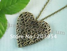 On sale!hot,designer,New men women Antique Vintage Style bronze Heart Design Pendant Necklace Gift Free Chain,free shipping,K115(China (Mainland))