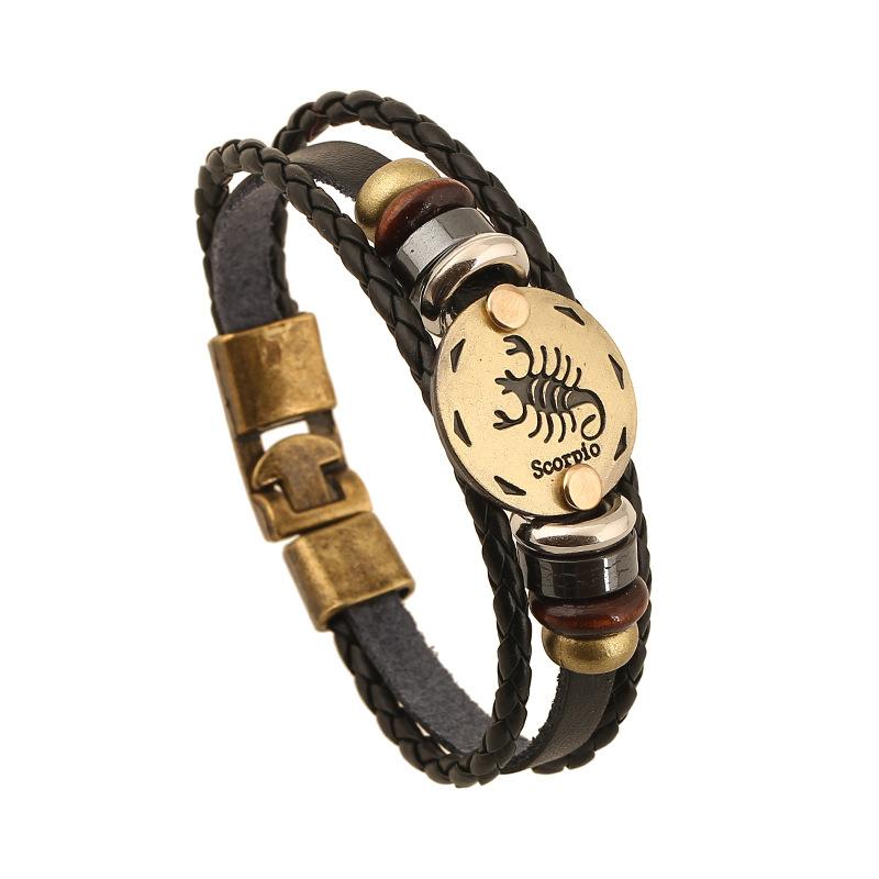 Zodiac Sign scorpio Leather Bracelet retro style male female hand jewelry friend birthday gift genuine leather lovers Bracelet(China (Mainland))