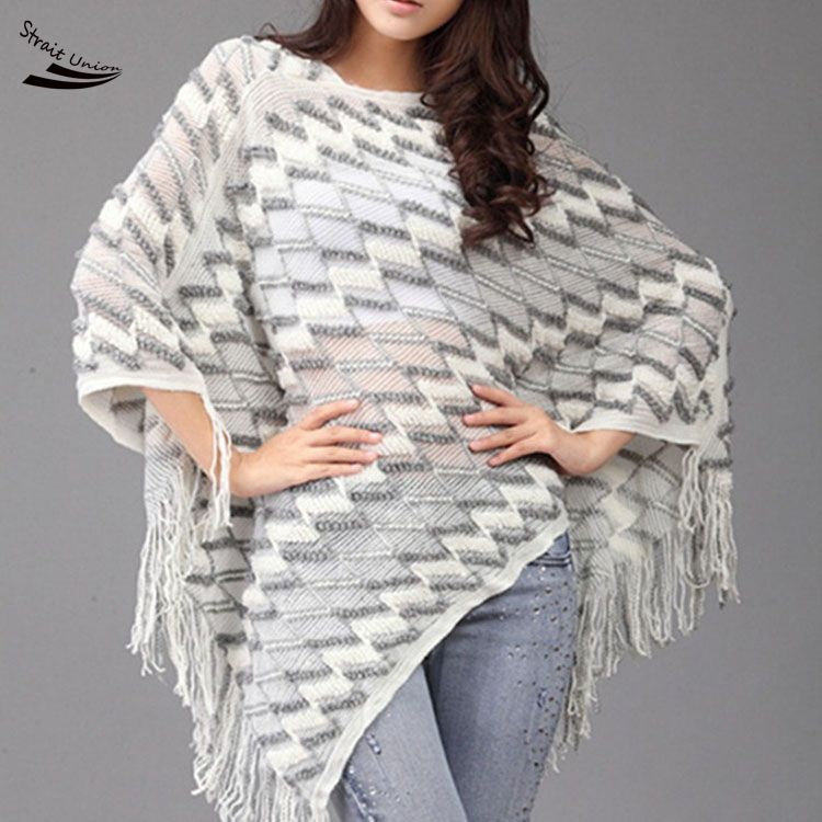 Women Fashion Cloak Winter Sweater Batwing Sleeve Fringe Irregular Hem Loose Cover Up Knitting Tops(China (Mainland))