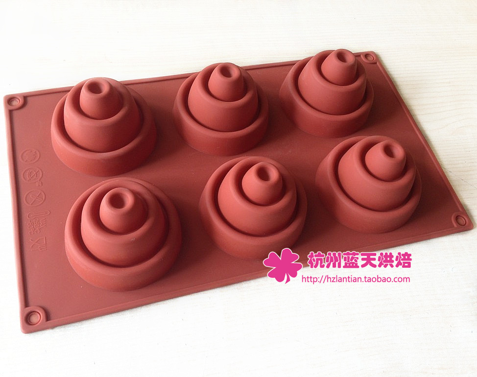 Wholesale/retail,free shipping,6 hole Silicone mold coconut mold handmade soap mold candle mould 29.5*17.2*5CM(China (Mainland))
