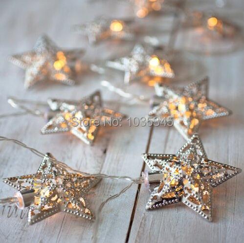 Гаджет  Battery Operated Warm White LED Fairy Lights10 Metal Star String Decoration Light for Festival Halloween Christmas Party Wedding None Свет и освещение