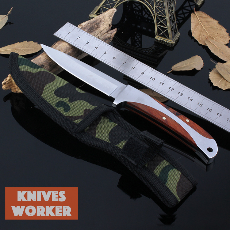 K12 Columbia Knife Fixed Blade Knives edc Tool With Nylon Cover Rosewood Handle Army Survival Knife