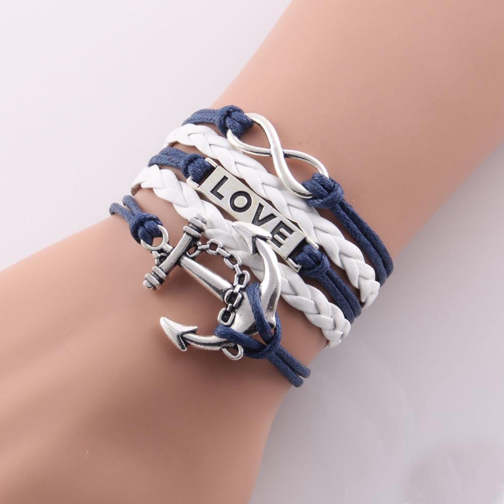 (10pcs/Lot) Infinity Love Navy anchor charm leather bracelet wrap bracelets & bangles any color custom made drop shipping 27#(China (Mainland))