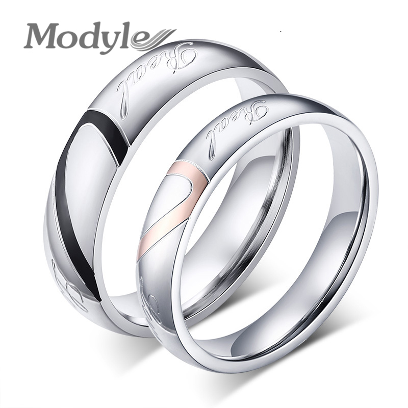 2016 New Fashion Heart Ring Lovers Wedding Rings Stainless Steel Wedding Ring