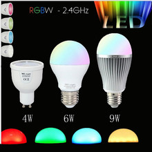 Dimmable Mi Light GU10 E27 RGB Led Bulb Lamp 4W 6W 9W MiLight 2.5G Wireless Lights 85-265V RGBWW Spot light lampada LED Lamp(China (Mainland))