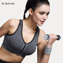 B.BANG Womens Yoga Bra –  Zipper Front Push Up Sports Bra Seamless