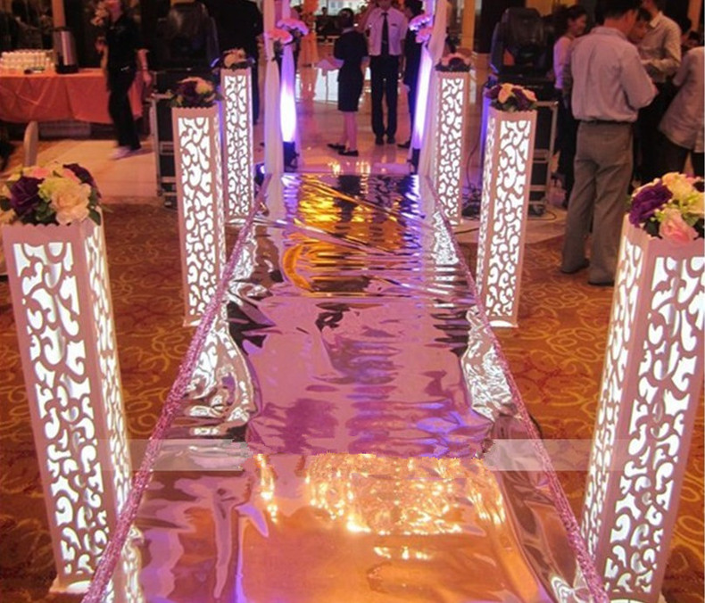 8 units / lot 115 * 20 * 20 cm Carved Pillar Wedding Banquet Lead Road Stand Decoration Fantasy With built-in LED Light(China (Mainland))
