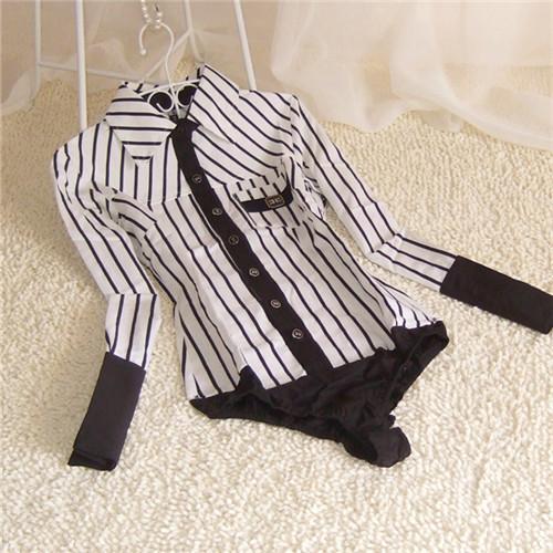 New Brand Women Striped OL Long Sleeve Cotton Casual Body Blouse Shirt Women Tops One Piece Body Shirt Blusas Plus Size S-XL(China (Mainland))