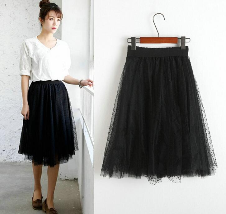 Summer 2015 new Korean elegant pleated tutu dot multilayer gauze mesh long skirts - TOPFEEDIT LTD store