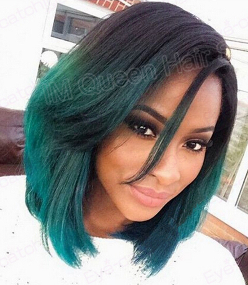 Free shipping black to dark green ombre teal turquoise natural Straight Synthetic Lace Front Wig short bob Heat Resistant<br><br>Aliexpress