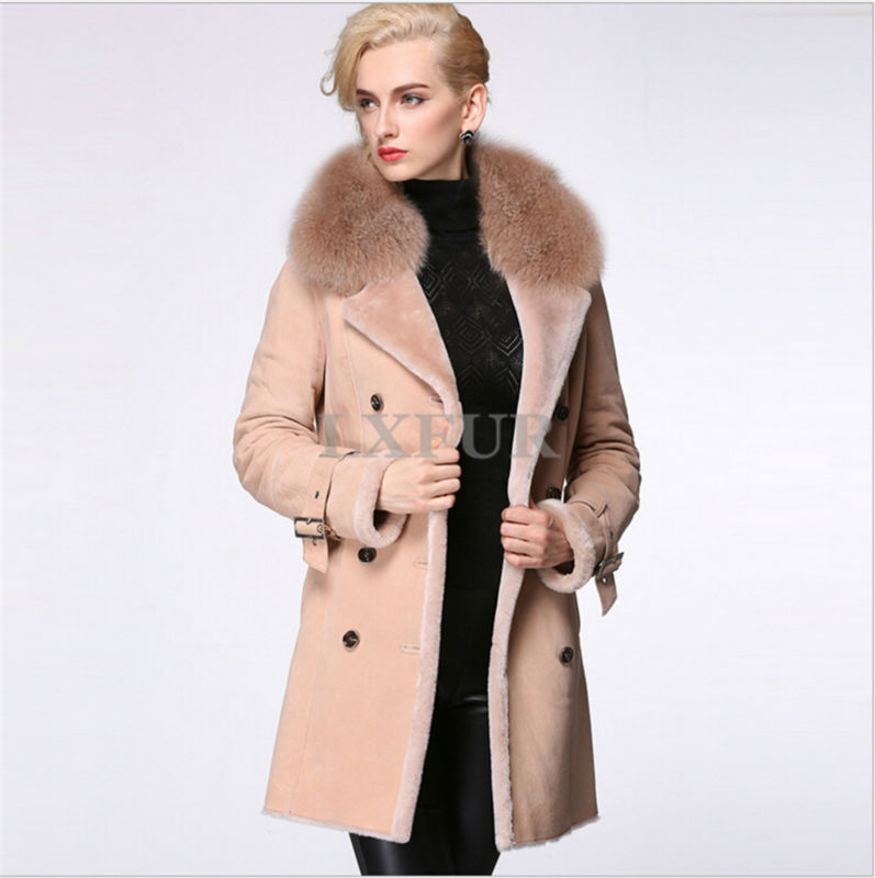 2015 High Quality Womens Genuine Merino Fur Overcoat Real Double-faced Fur Parka Winter Long Coat Turn-down Collar LX00589Одежда и ак�е��уары<br><br><br>Aliexpress