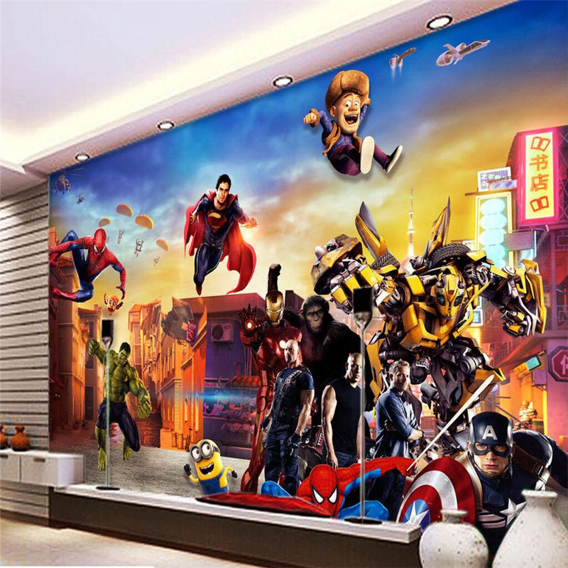 avengers papier peint promotion achetez des avengers papier peint promotionnels sur aliexpress. Black Bedroom Furniture Sets. Home Design Ideas