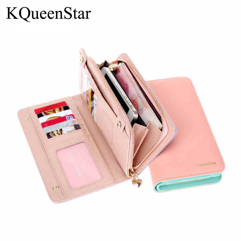 KQueenStar Brand New Fashion Women Wallet PU Leather Womens Clutch Wallets Long Style Designer Female Wallets Purses