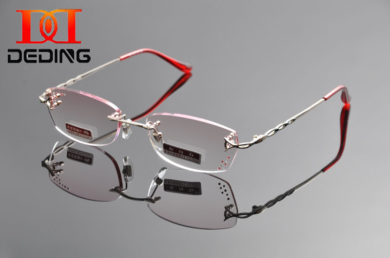 DEDING Women quality reading glasses +1.0 to +4.0 rimless Reading glasses w/rhinestones Women Presbyopia reading glasses DD1320(China (Mainland))