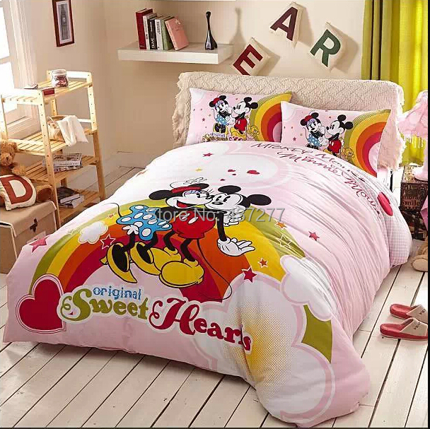 Kids Mickey Minnie mouse present cotton bedclothes bedding set for twin full queen king size bed duvet cover sheet comforter set(China (Mainland))