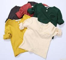 Wholesale Kids T-Shirts Spring Long Sleeve Solid Beige Red Yellow Green Brown Boys Girls T-Shirt A375(China (Mainland))