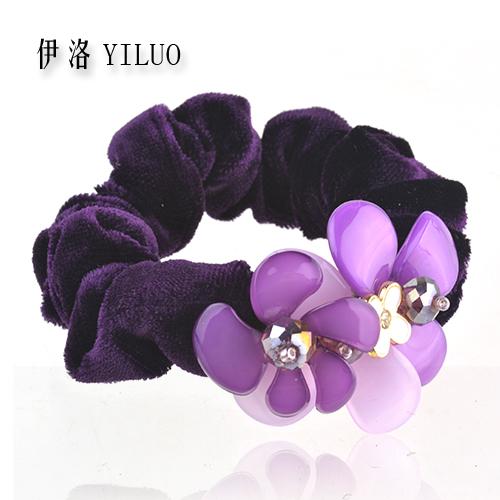 Women Accessories Girls Luxury Vintage Velvet Flower Hair Band Tie Hair Rope Ponytail Holder FREE SHIPPING(China (Mainland))