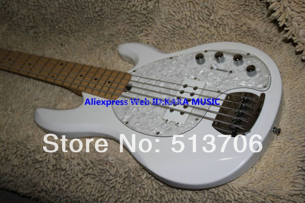 White Custom Shop 5 strings MusicMan Electric Bass Maple Fingerboard Best Free Shipping(China (Mainland))