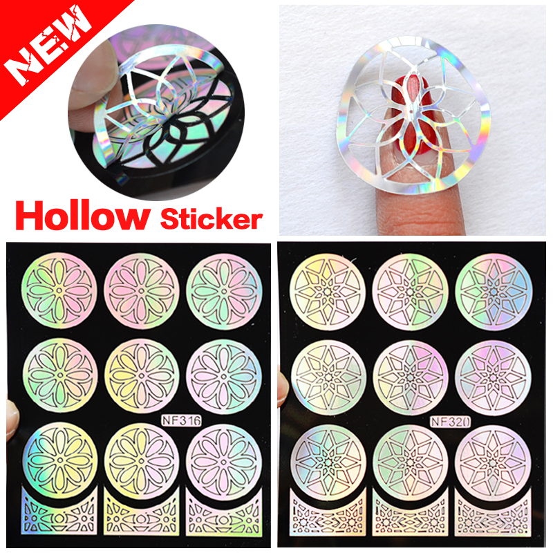 New 1Pc Silver Shiny Hollow Vinyls Nail Art Stamping DIY Stamping Plates Stencil For Nail Art Decoration Sticker Guide Nail Tool(China (Mainland))