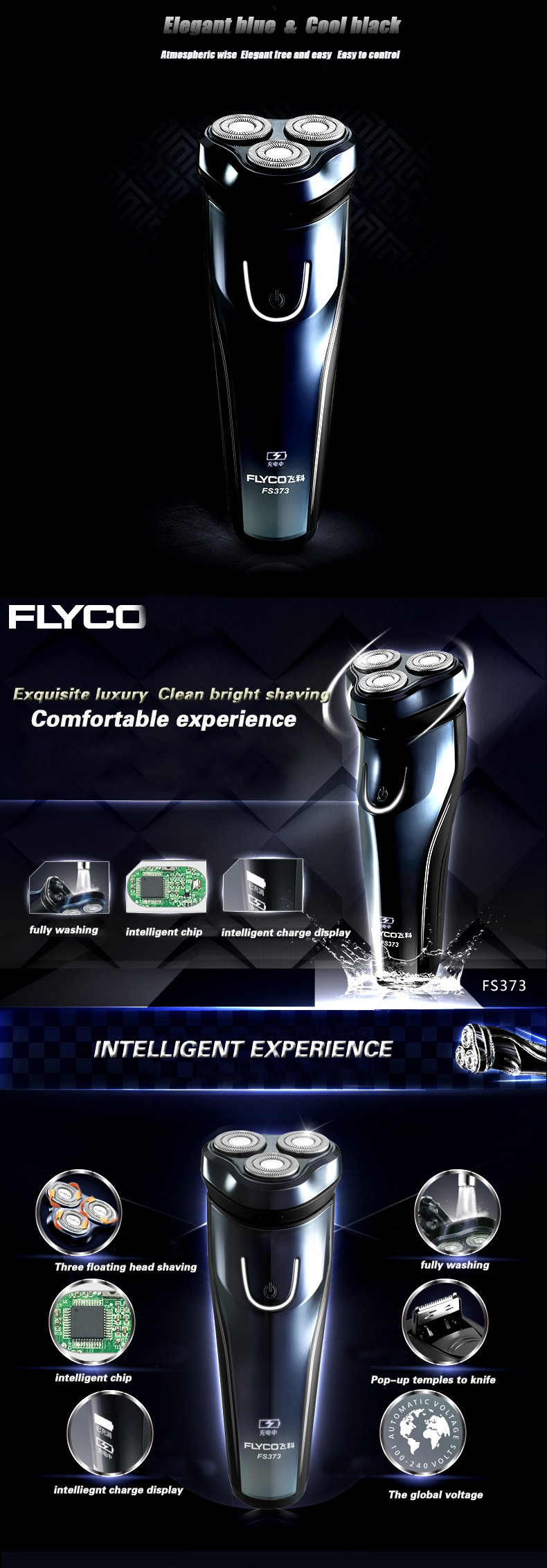 Buy Flyco Men's Electric Shaver Shaving Knife Fast Charge Rechargeable Portable Razor shaving Machine Washable Triple Blade FS373 cheap