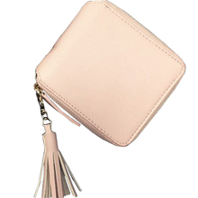 100 Genuine Leather Wallet Women Small Clutch Bag 2015 New Fashion Teassel and Zip Coins Purse