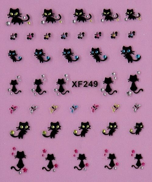Cute beauty women black cat 3D nail stickers Water Transfer nail art low price XF249(China (Mainland))