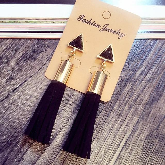 Винтаж себе треугольник кожа кисточкой длинные серьги для женщин мода ювелирных изделий белый и черный цвета