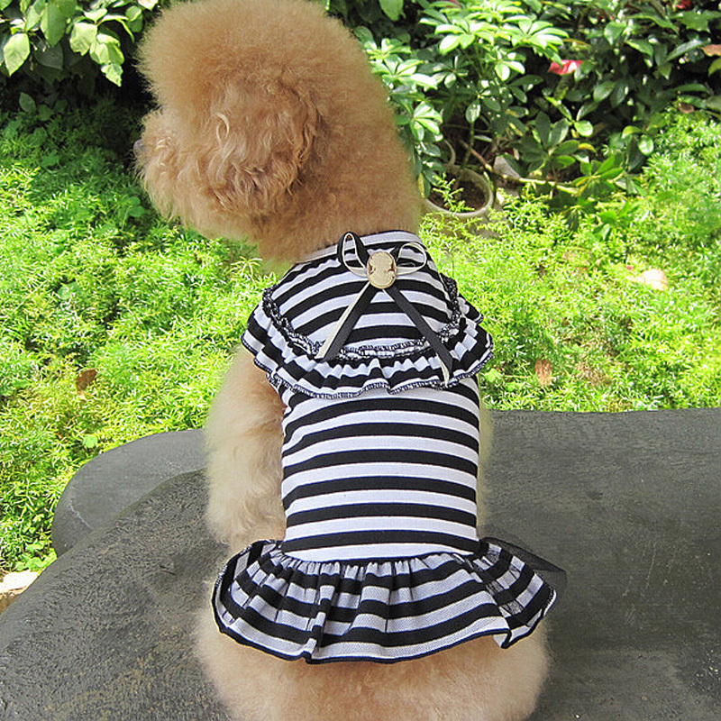 Hot 3 Colors Student Style Clothing For Small Dogs, Summer Stripes Mini Dress Dog Puppy Pet Outfit S-XXL, Roupinha Para Cachorro(China (Mainland))