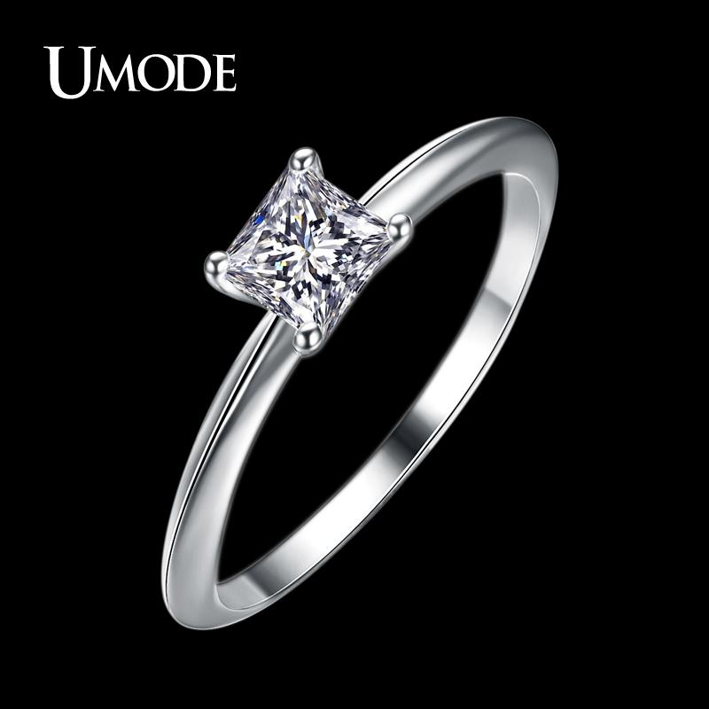 Aliexpress Buy UMODE Classical 0 63ct Princess Cut Simulated Diamond Br