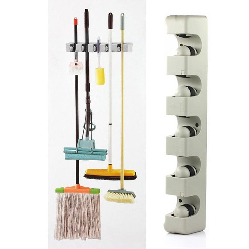 Kitchen Organizer Wall Shelf Mounted Hanger 5 Position Storage Mop Brush Broom Holder Tool - Shenzhen Vakind Technology Co., Ltd. store