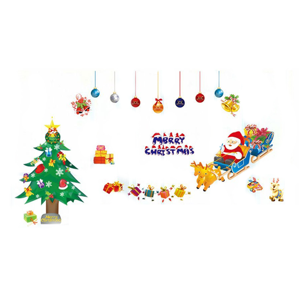 Removable wall stickers merry christmas the santa claus for Christmas wall mural