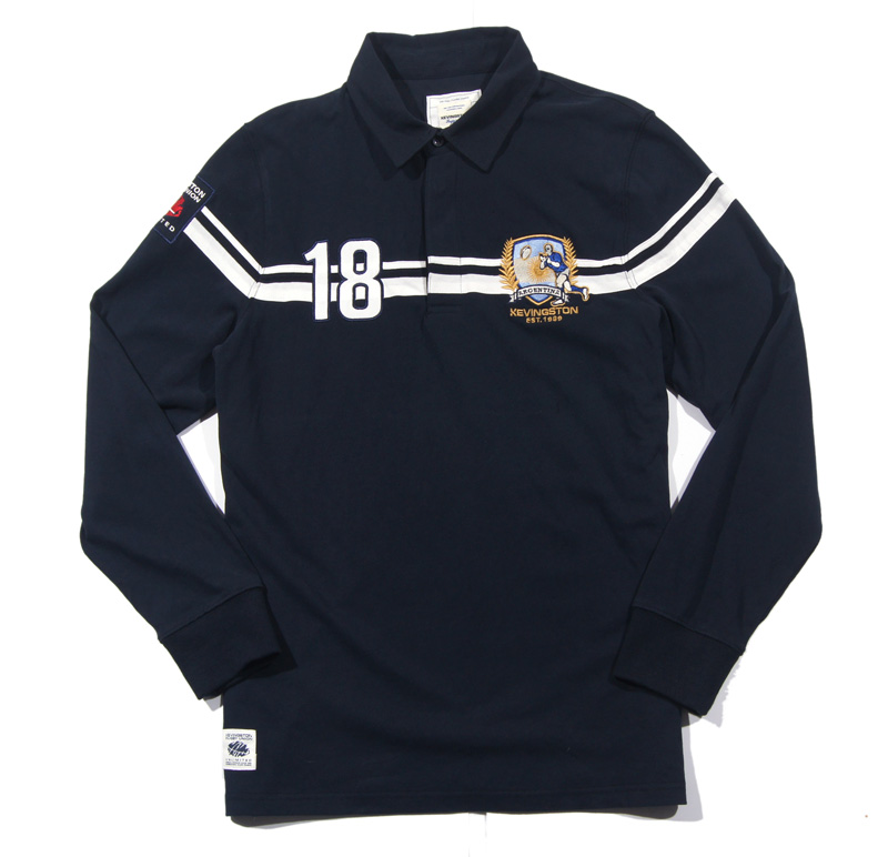 New 2016 Kevingston Argentina Rugby Jersey Men Long Sleeve Cotton Navy Rugby Shirt 18#(China (Mainland))