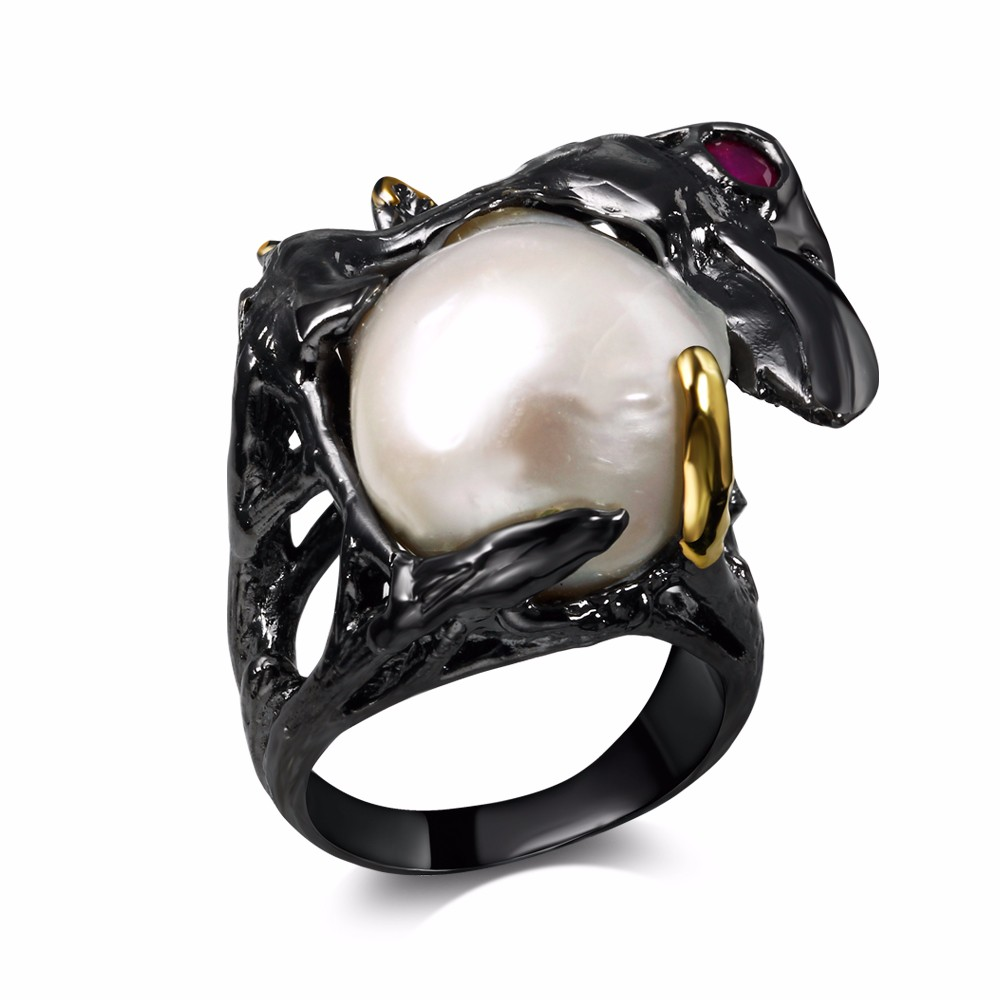 Mansaku2016 New Natural Pearl Cubic Zirconia 18K Gold & Black Plated Special Party cocktail Rings for women(China (Mainland))