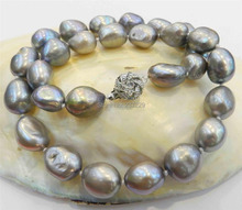 """Wholesale price FREE SHIPPING ^^^LARGE 10-11MM SILVER GRAY REAL BAROQUE CULTURED PEARL NECKLACE 18KGP CRYSTALce 80""""(China (Mainland))"""