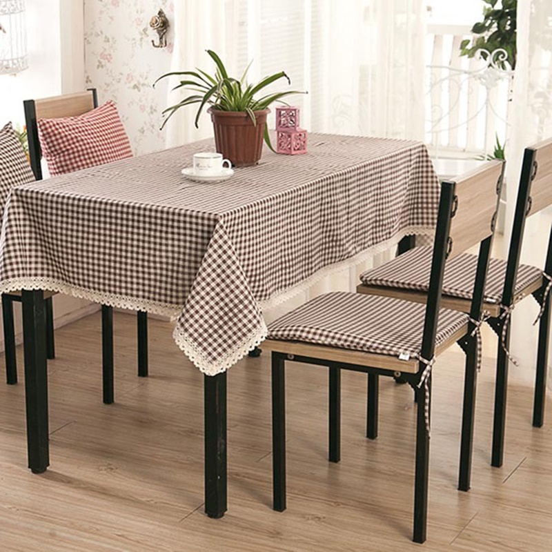 Bohemian style table cloth plaid lace cotton household decoration square waterproof oilproof red black supply S4ZB003