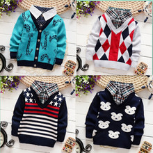 Children Sweaters Shirts baby boys girls knitted warm sweater 2015 New Autumn winter Pullover Sweater fancy kids clothing 2-6 Y(China (Mainland))