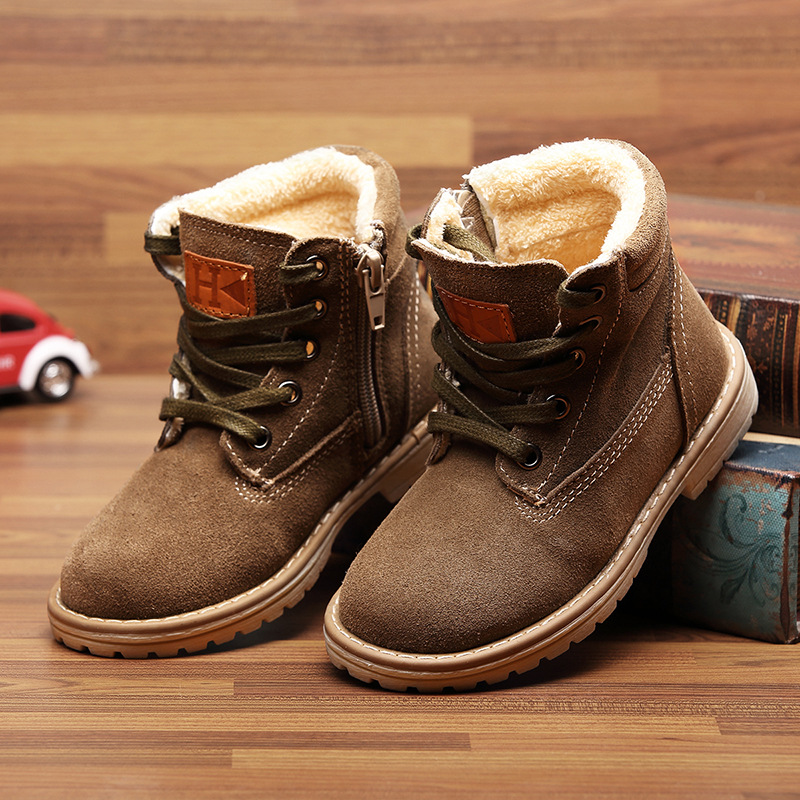 2015 New children genuine leather boots kids snow warm shoes boys winter sneakers
