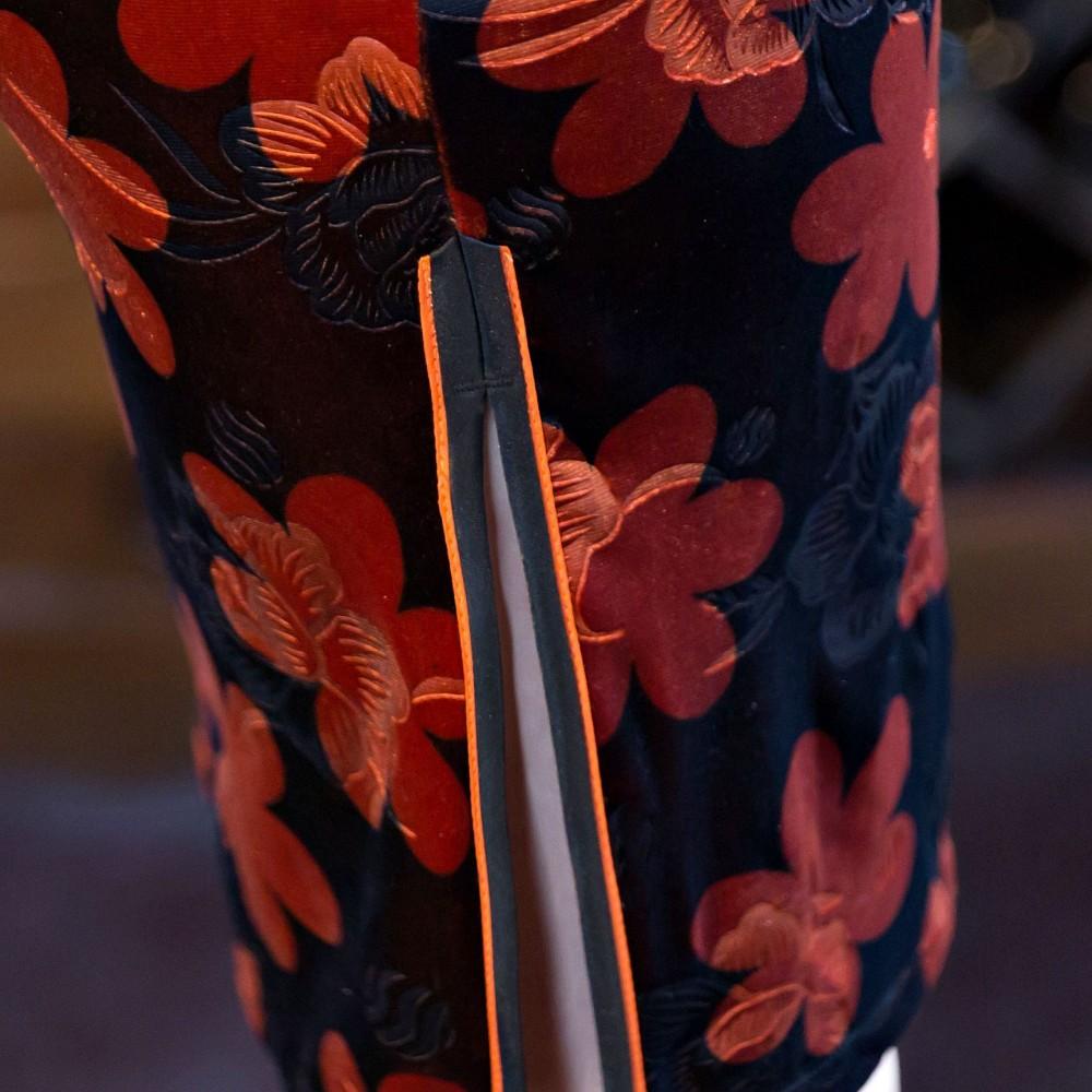 ด้านคุณภาพวินเทจสตรีกำมะหยี่สั้นCheongsamแฟชั่นสไตล์จีนชุดที่สง่างามQipaoขนาดSml XL XXL XXXL F101027 ถูก