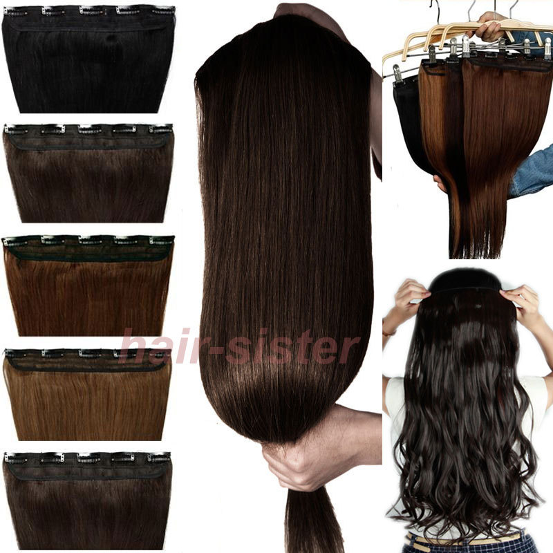 Longest 30 inches 76CM Clip in Hair Extentions Extension 3/4 Full head One Piece 5 Clips Easy Attach Black Brown Blonde(China (Mainland))