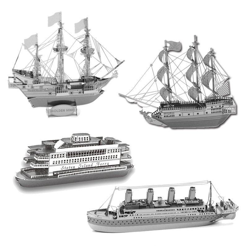 2016 3D Metal Puzzles DIY Model Gift World's Ship Ferry Pear Titanic Golden Hind Caribbean BlackJigsaws Toys For Kids/Adult(China (Mainland))