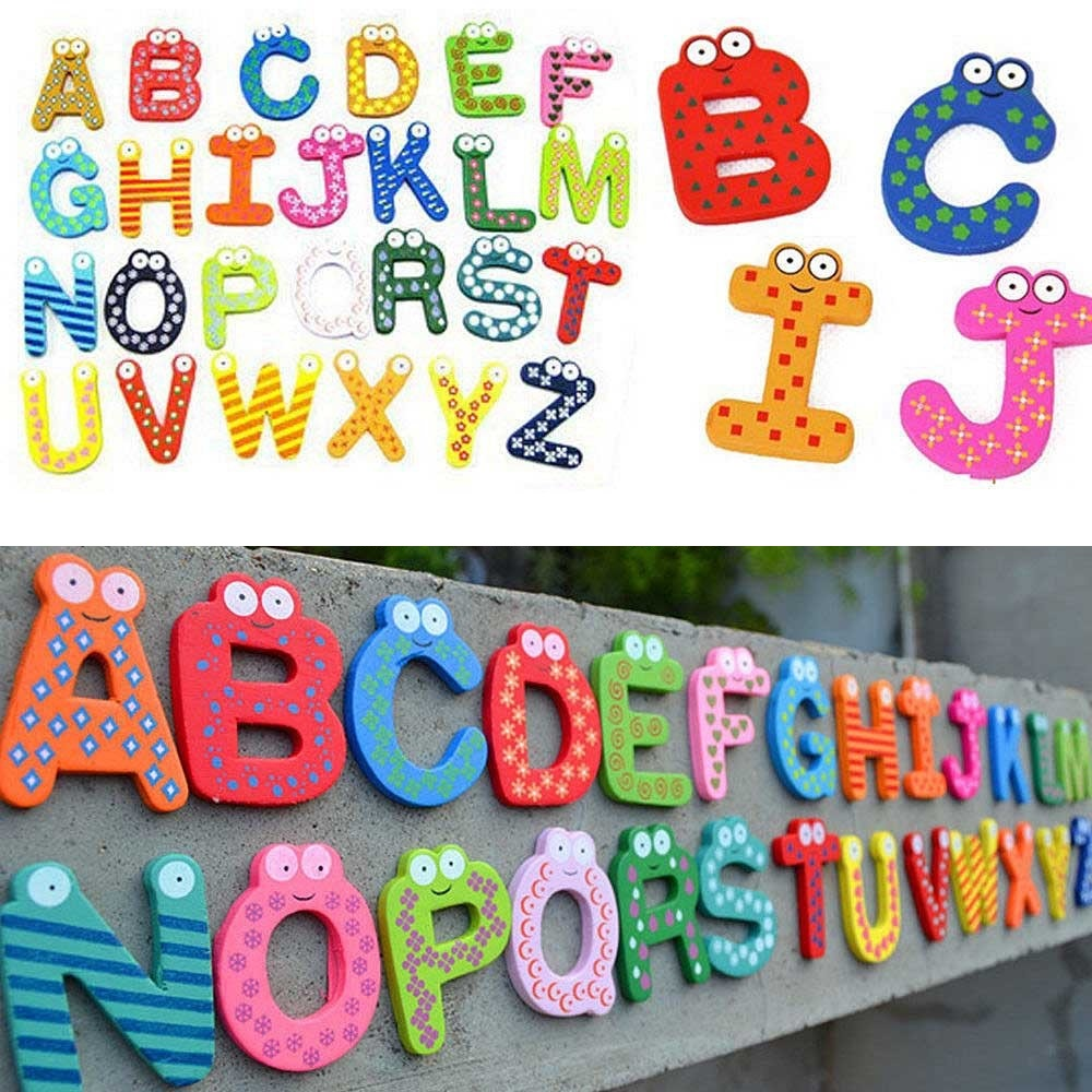 Loverly Trustworthy New Kids Toys 26pcs Wooden Cartoon Alphabet A-Z Magnets Child Educational Wooden Toys M0075 P(China (Mainland))