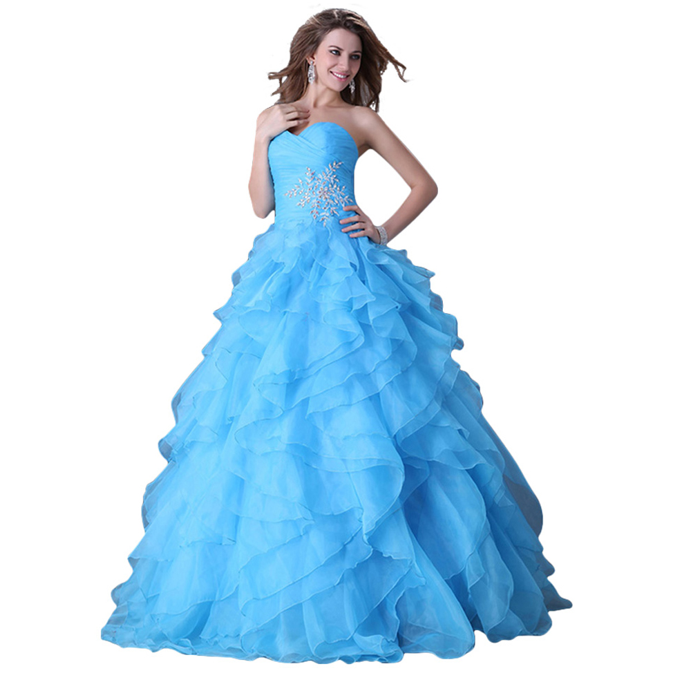 Grace Karin Strapless Organza Ball Gown Wedding Party Dresses Robe De Mariee Sirene Blue Yellow